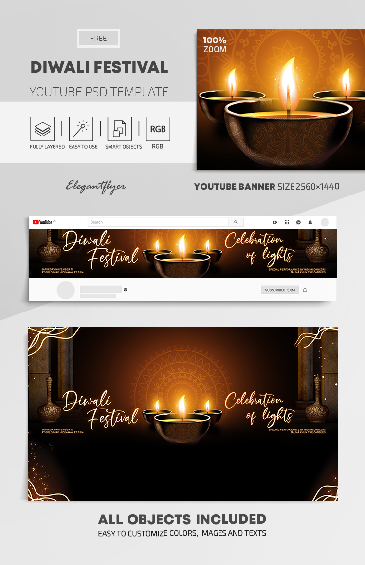 Diwali Festival – Free Youtube Channel banner PSD Template