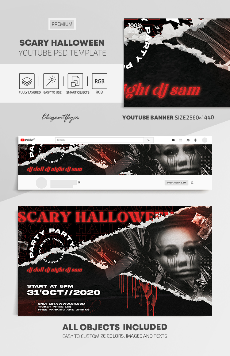 Scary Halloween – Youtube Channel banner PSD Template