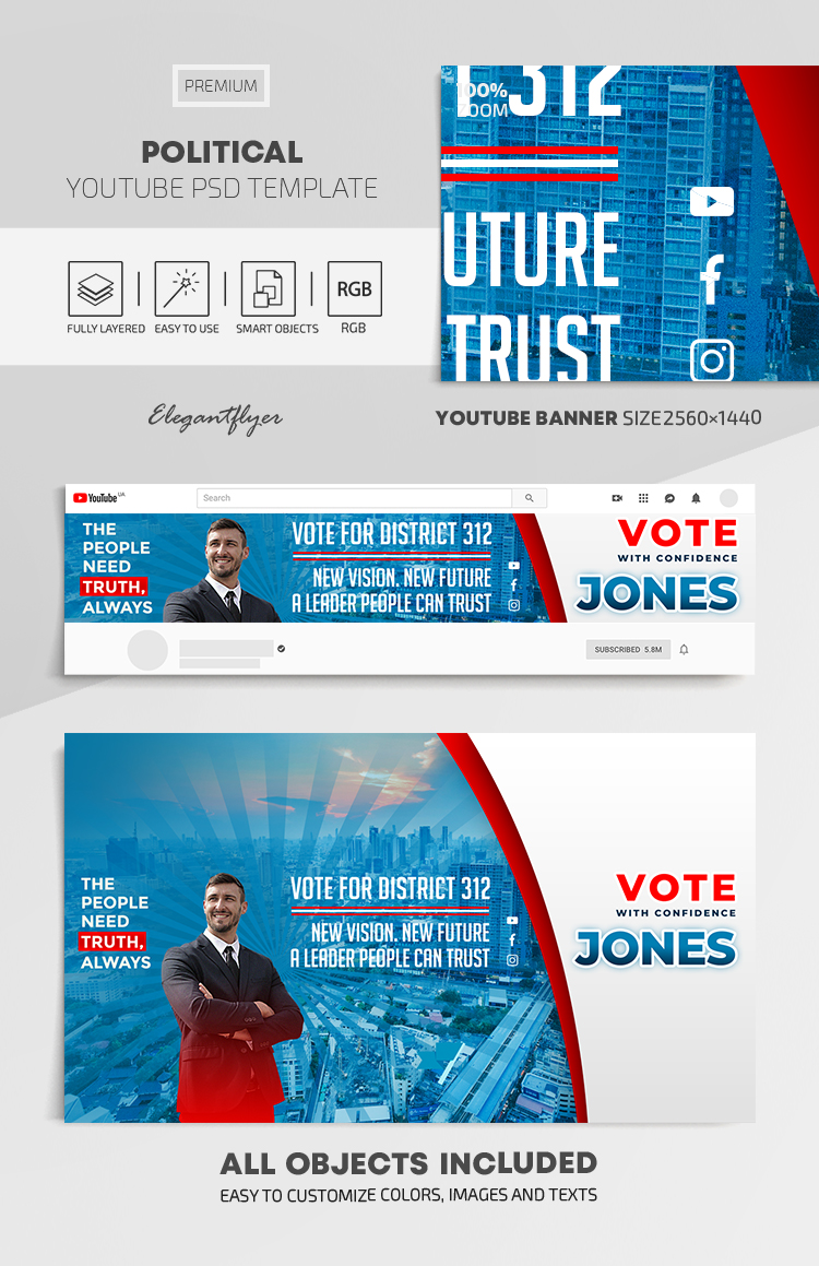 Political – Youtube Channel banner PSD Template