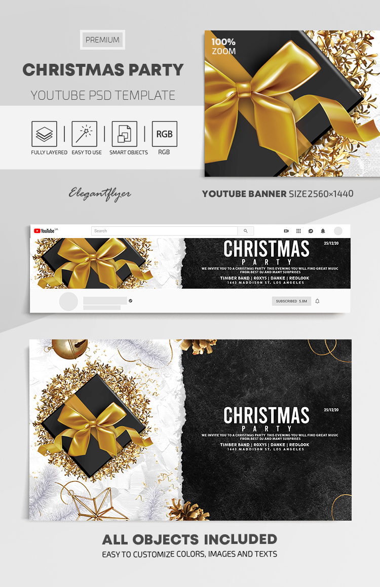 Christmas Party – Youtube Channel banner PSD Template