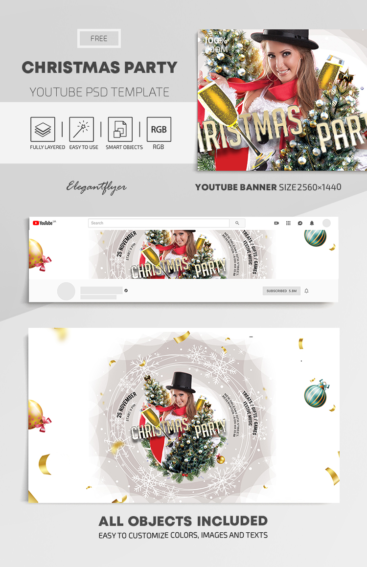 Christmas Party – Free Youtube Channel banner PSD Template