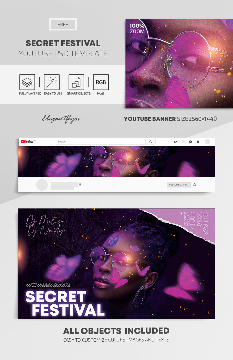 Secret Festival – Free Youtube Channel banner PSD Template
