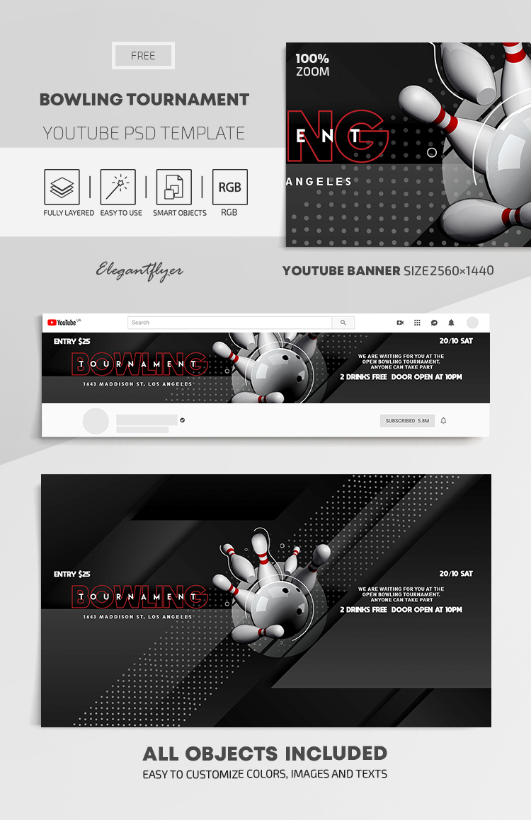 Bowling Tournament – Free Youtube Channel banner PSD Template
