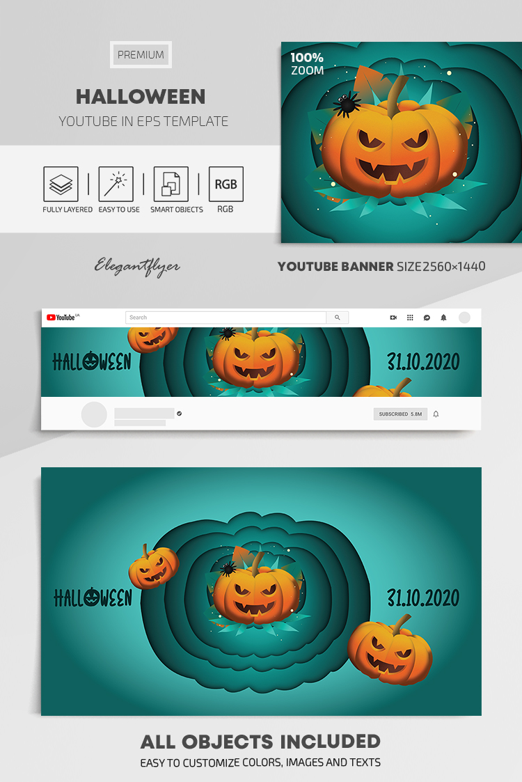 Halloween – Youtube Channel banner EPS Template