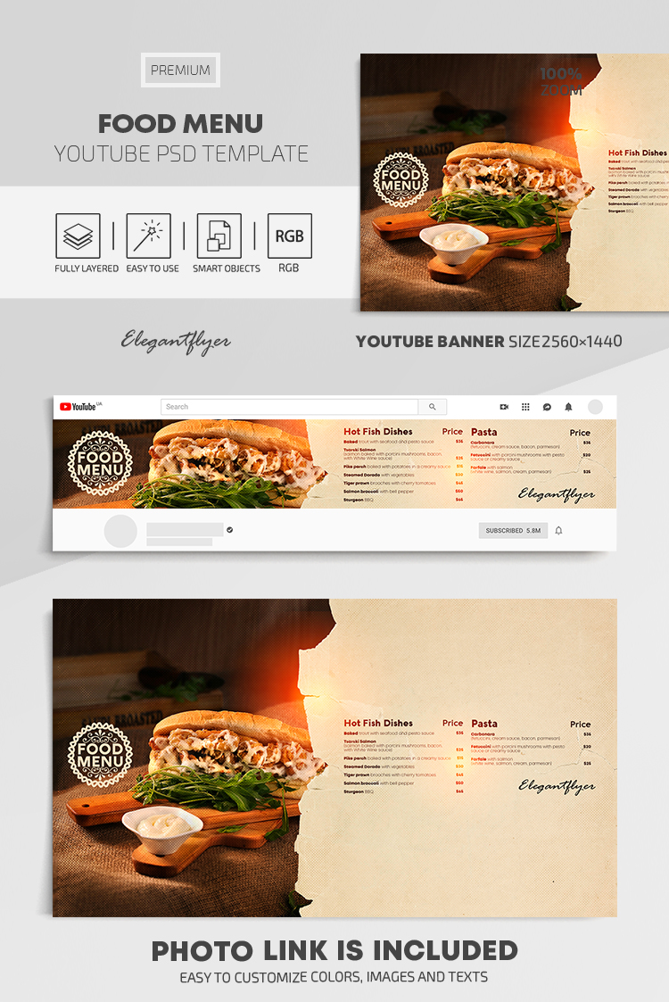 Food Menu – Youtube Channel banner PSD Template
