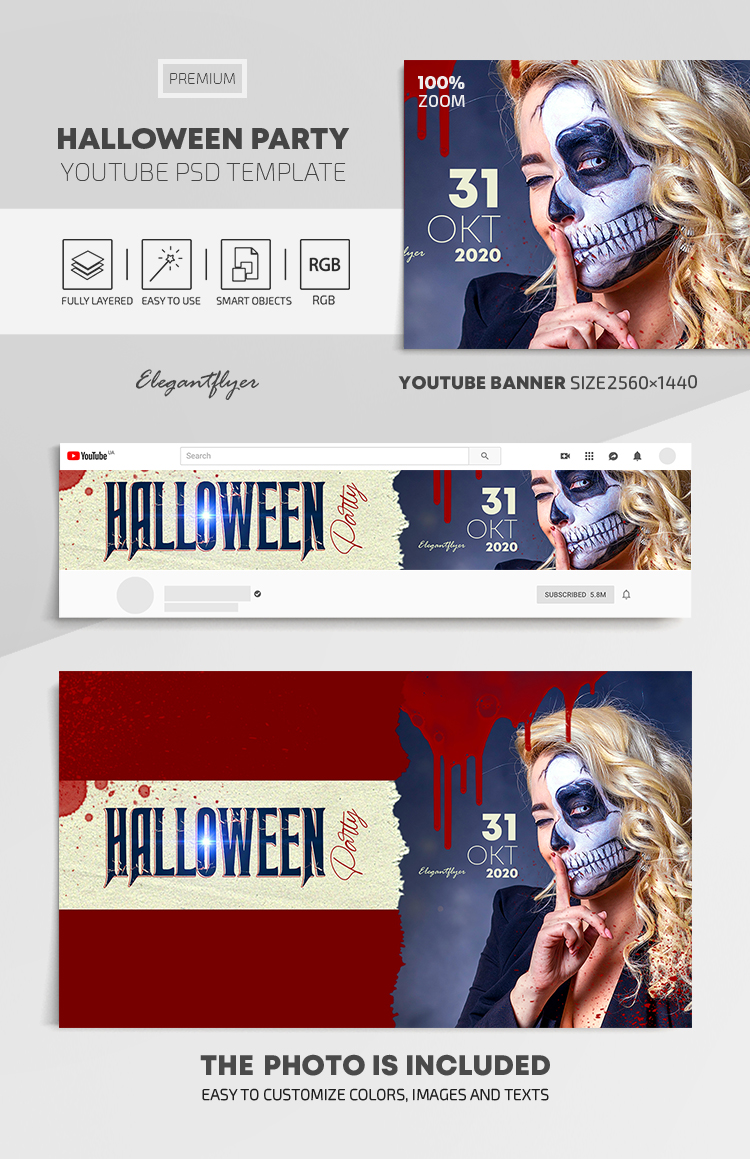 Halloween Party – Youtube Channel banner PSD Template