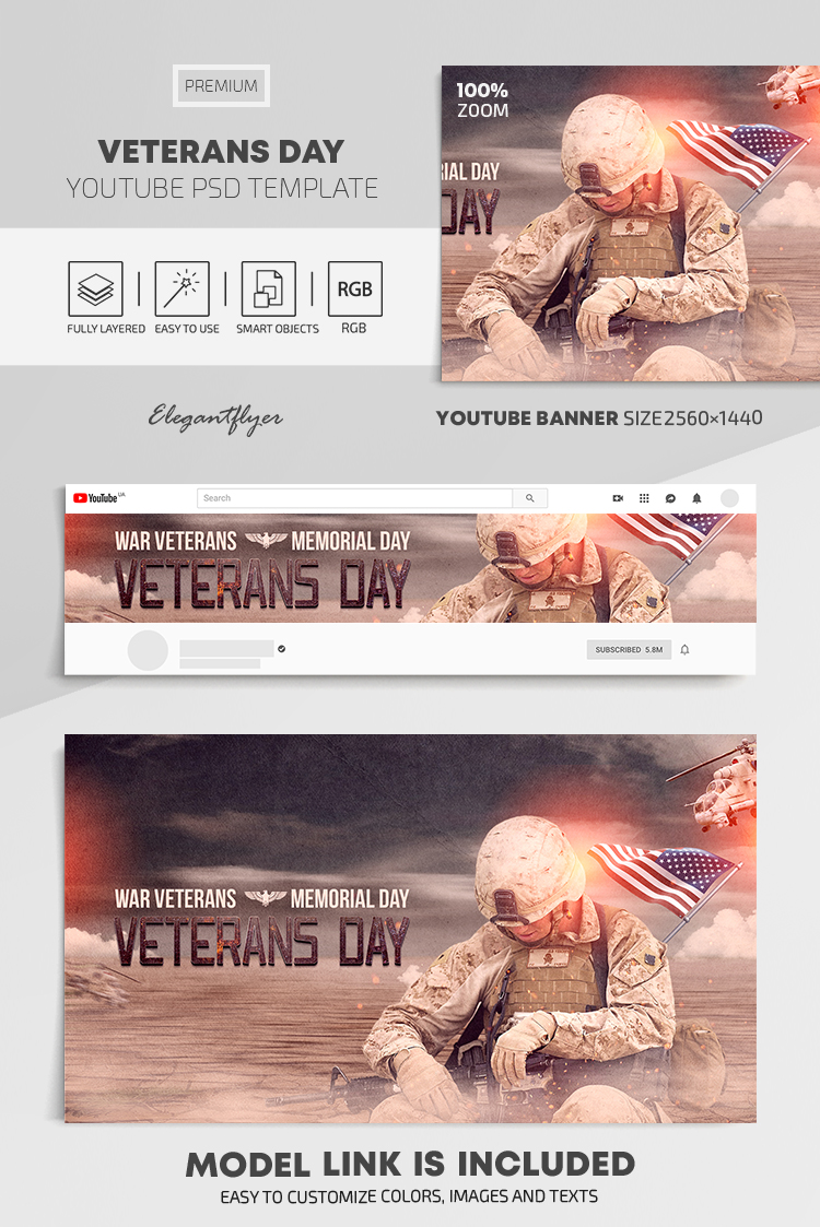 Veterans Day – Youtube Channel banner PSD Template
