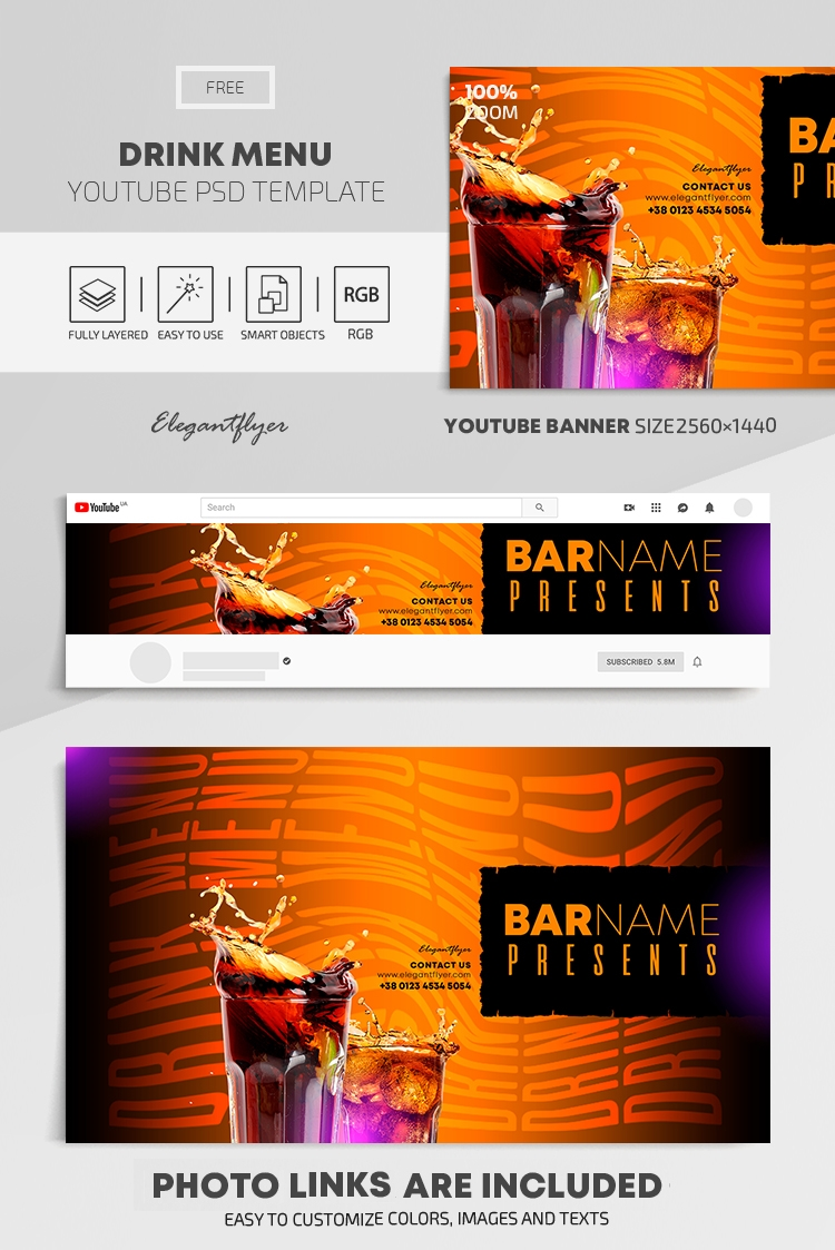 Drink Menu – Free Youtube Channel banner PSD Template