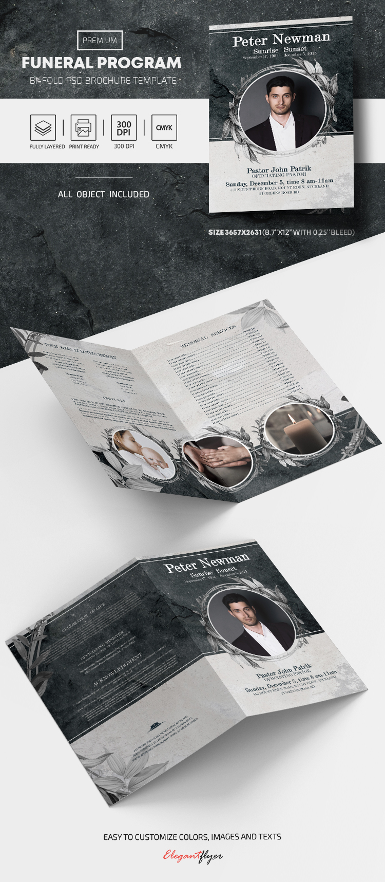 Funeral Program – PSD Bi-Fold Brochure Template
