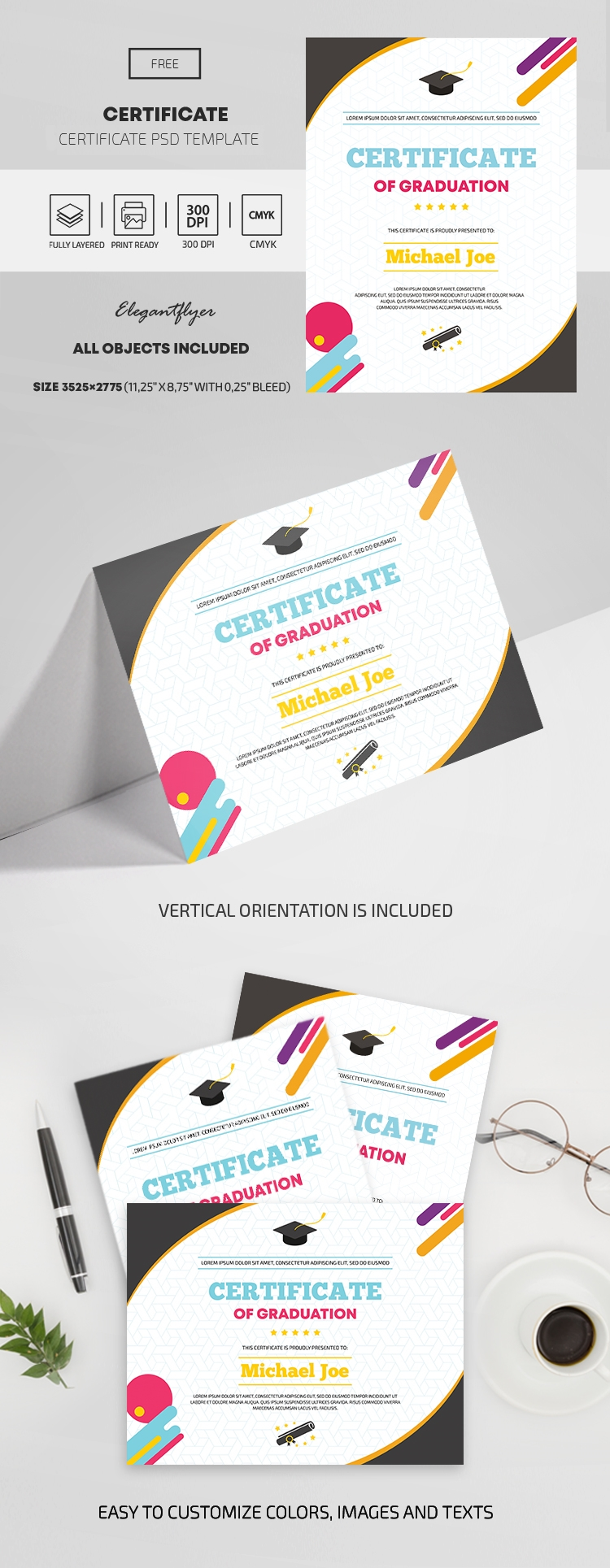 Free Certificate of graduation template in PSD