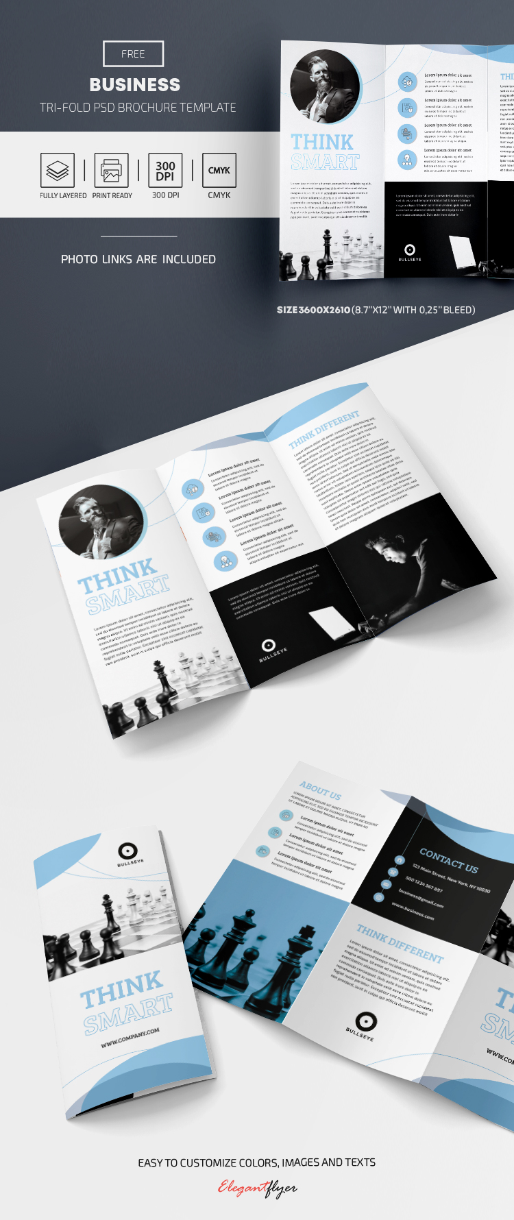 Business – Free Tri-Fold Brochure Template in PSD