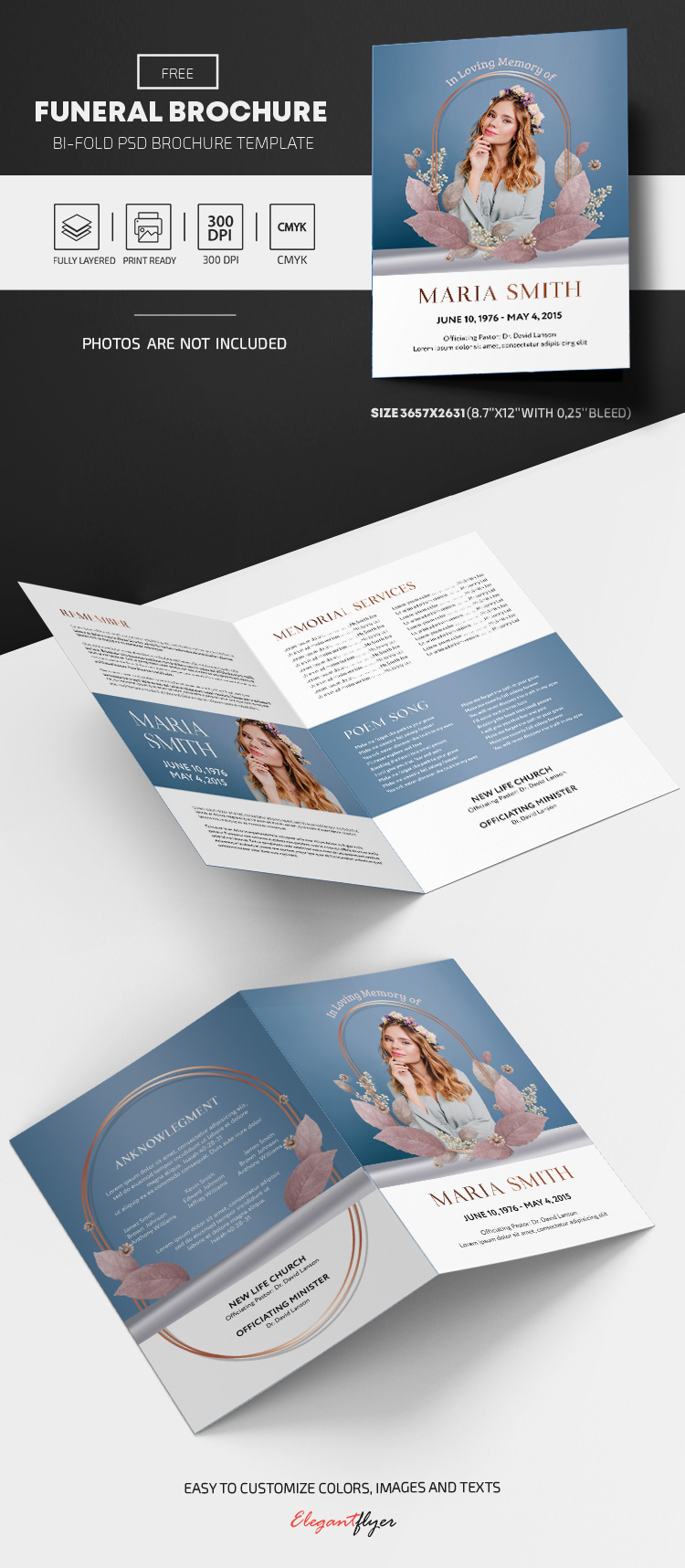 Funeral Program – Free Bi-Fold Brochure PSD Template