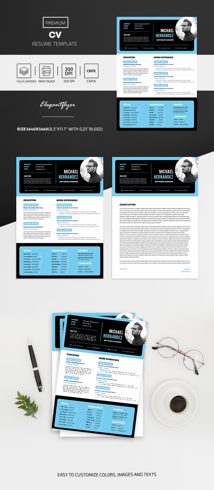 Professional Resume – CV PSD Template