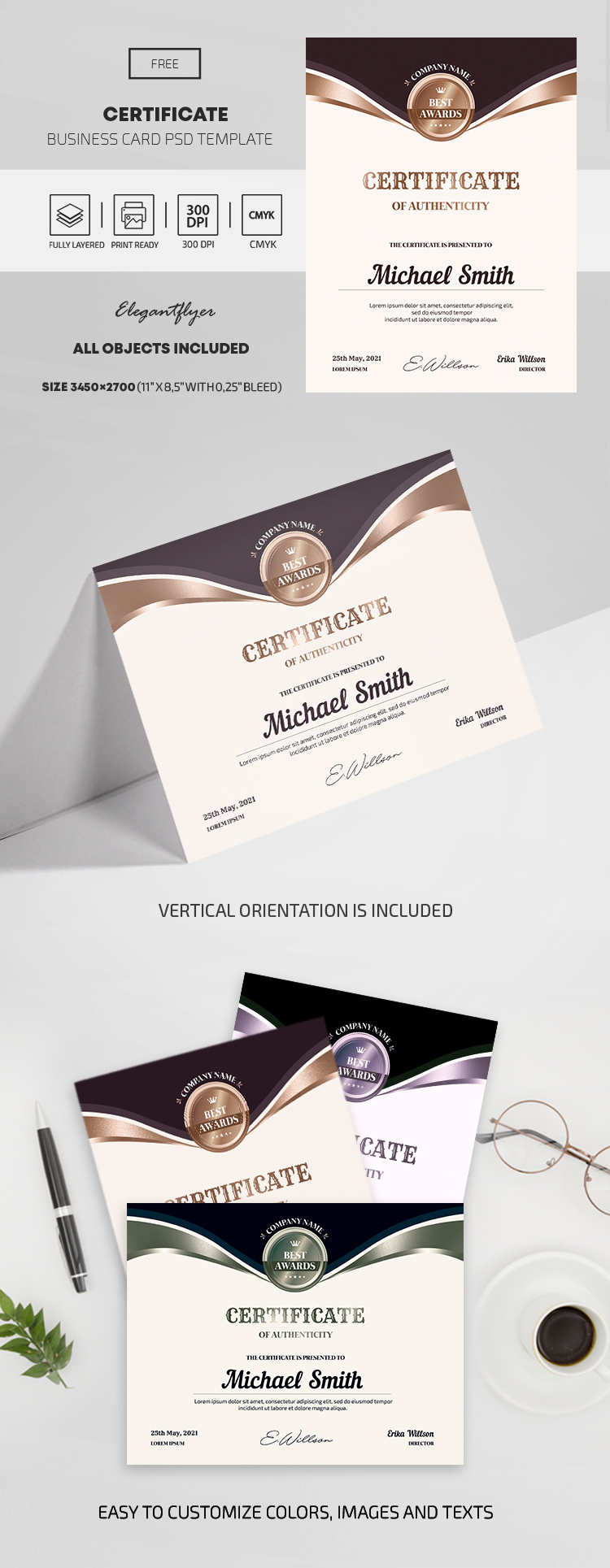 Free Authentic Certificate PSD Template