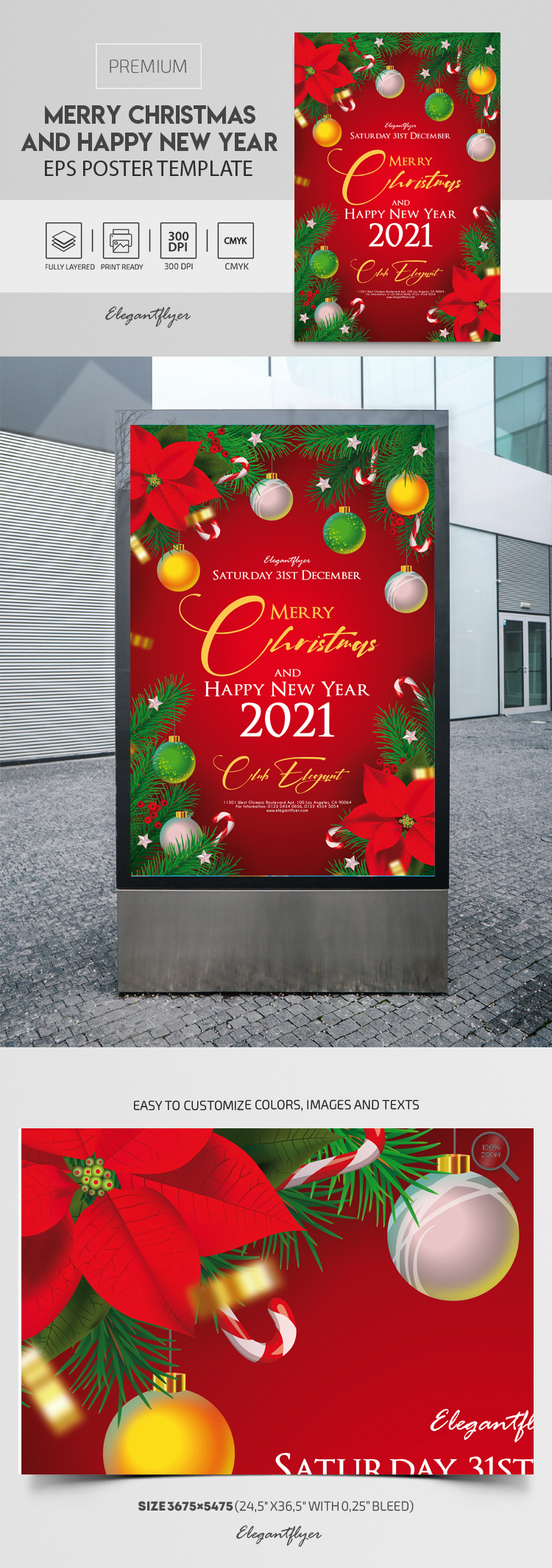 Merry Christmas and Happy New Year – Premium EPS Poster Template