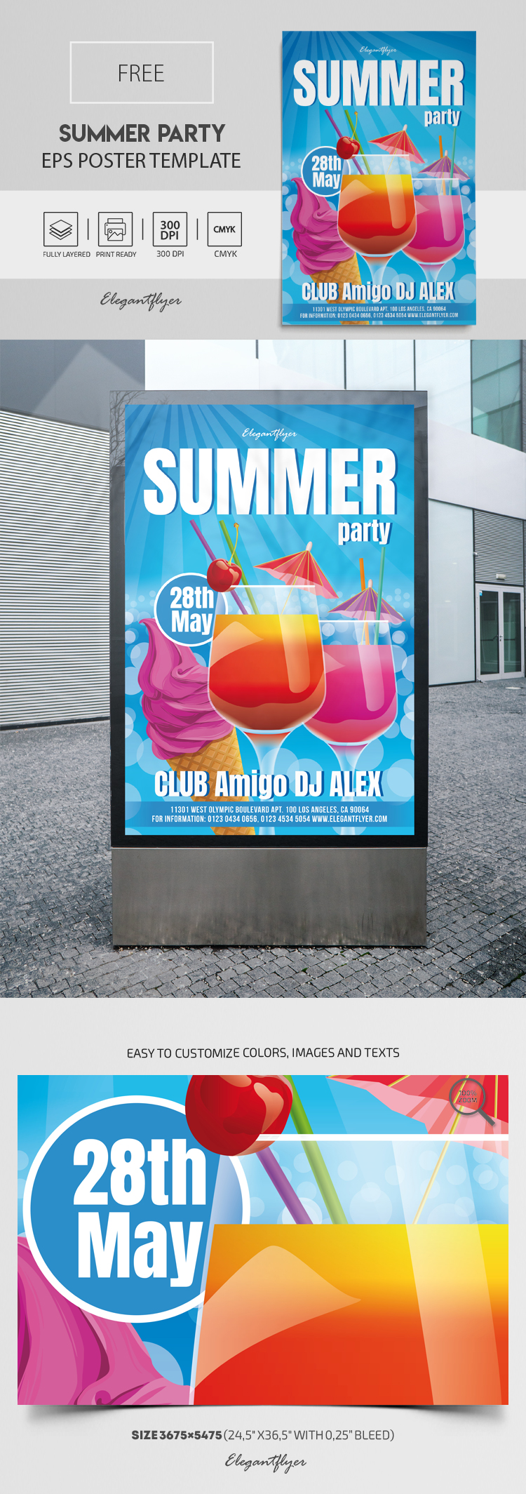 Summer Party – Free Vector Poster EPS Template