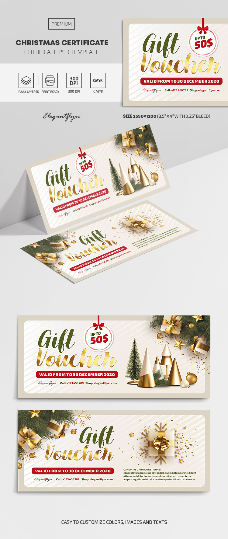 Christmas – Gift Certificate PSD Template