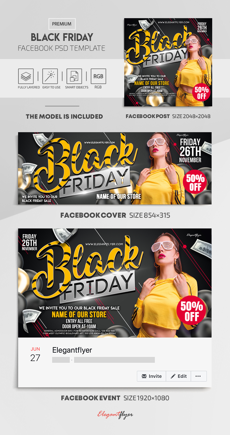 Black Friday – Facebook Cover Template in PSD + Post + Event cover