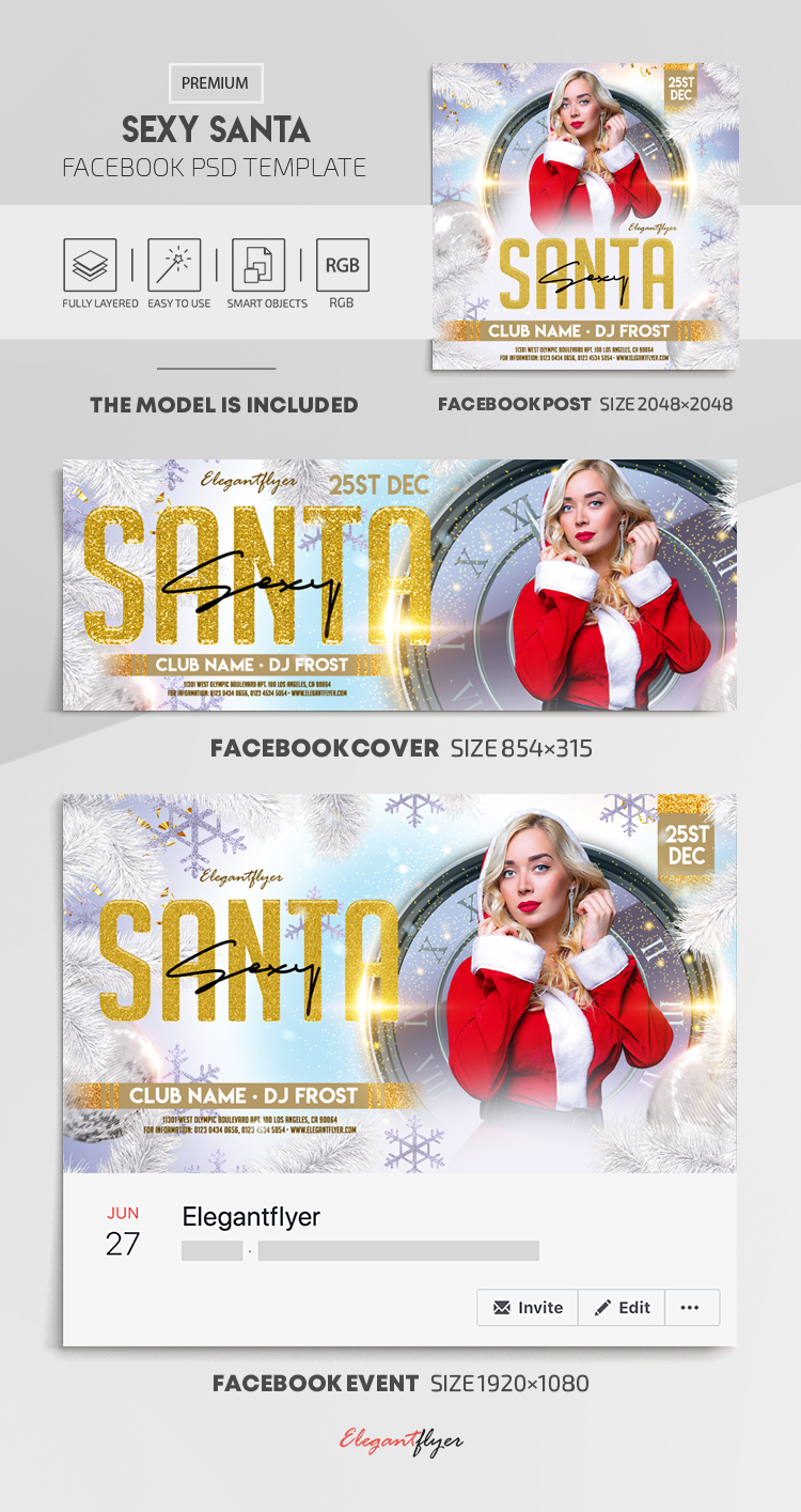 Sexy Santa – Facebook Cover Template in PSD + Post + Event cover