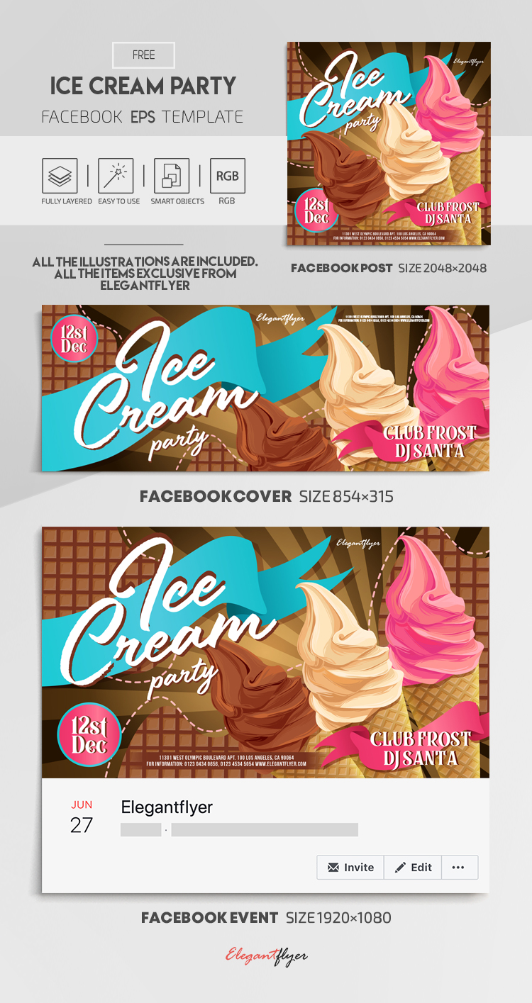 Ice Cream Party – Free Vector Facebook Cover Template in EPS + Post + Event cover