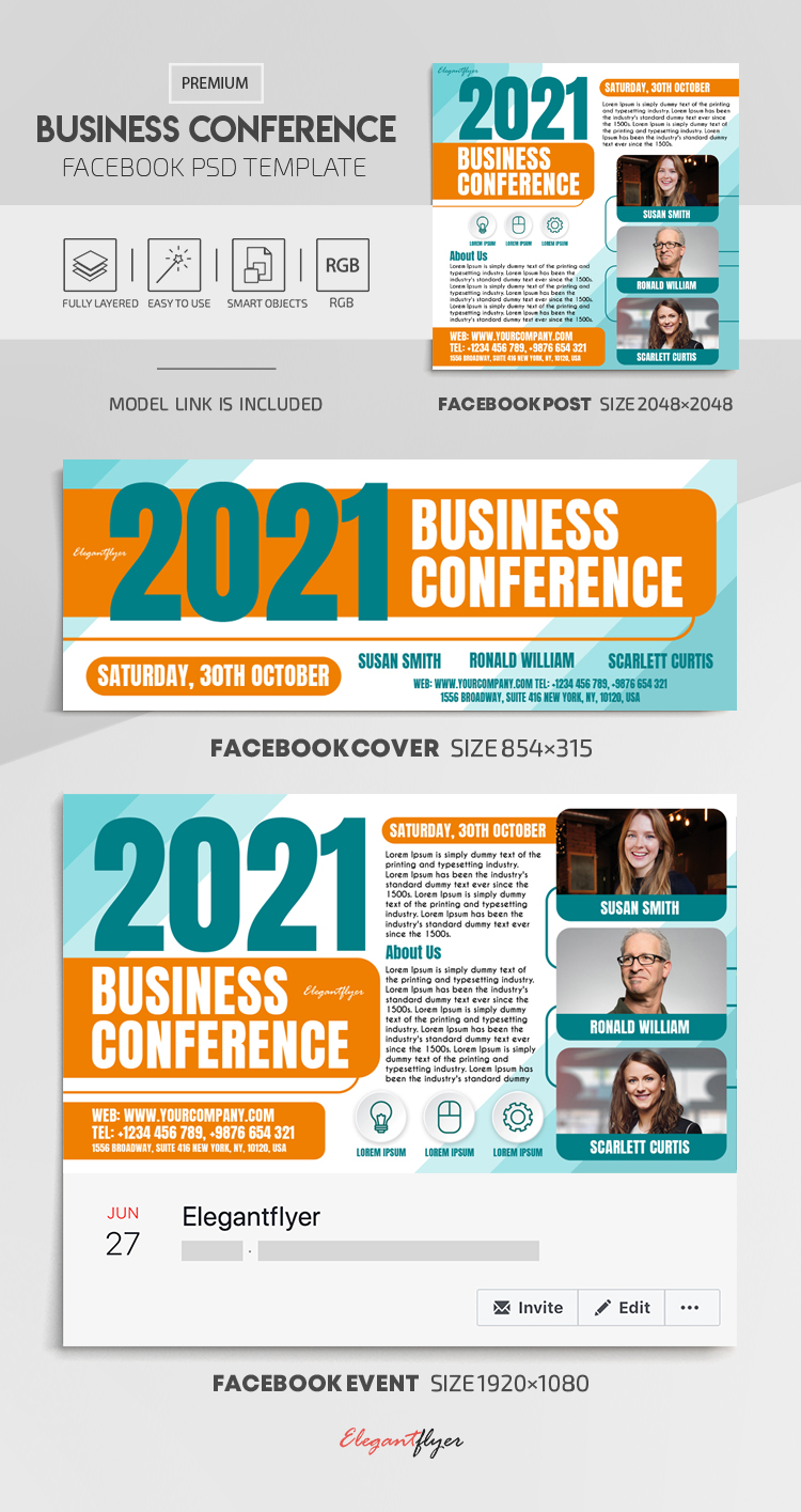 Business Conference – Facebook Cover Template in PSD + Post + Event cover