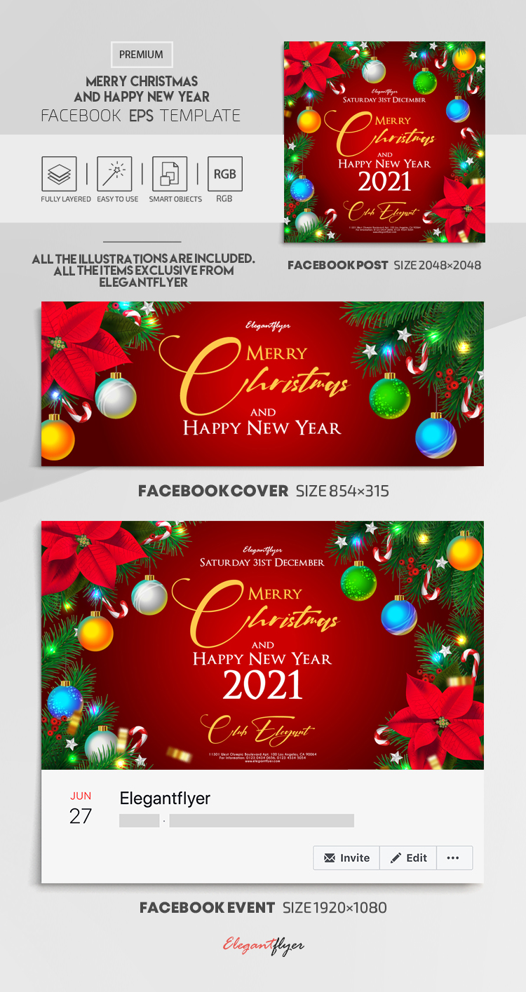 Merry Christmas and Happy New Year – Vector Facebook Cover Template in EPS + Post + Event cover