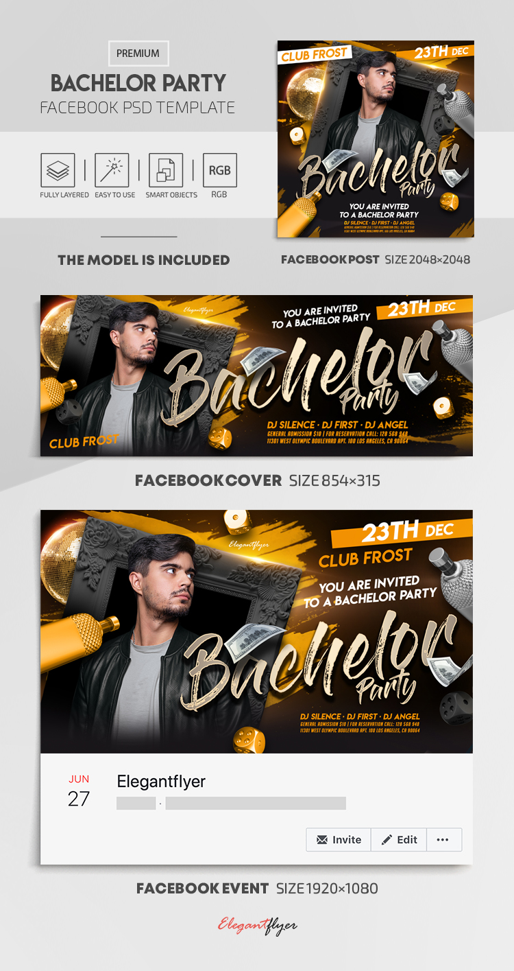 Bachelor Party – Facebook Cover Template in PSD + Post + Event cover