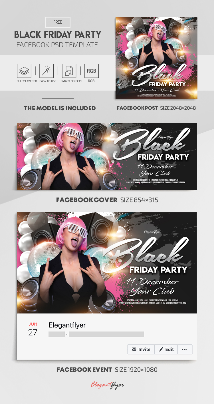Black Friday Party – Free Facebook Cover Template in PSD + Post + Event cover