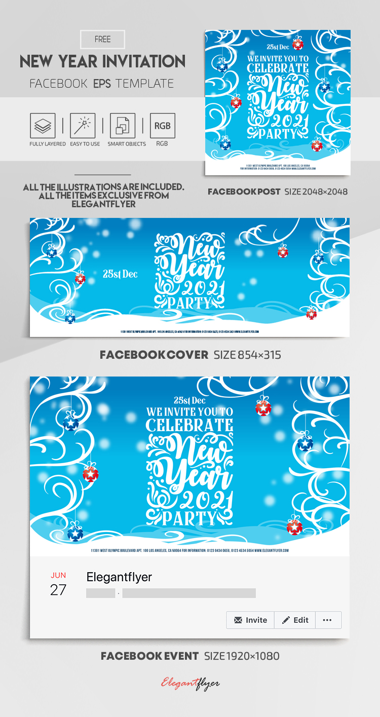 New Year Invitation – Free Vector Facebook Cover Template in EPS + Post + Event cover