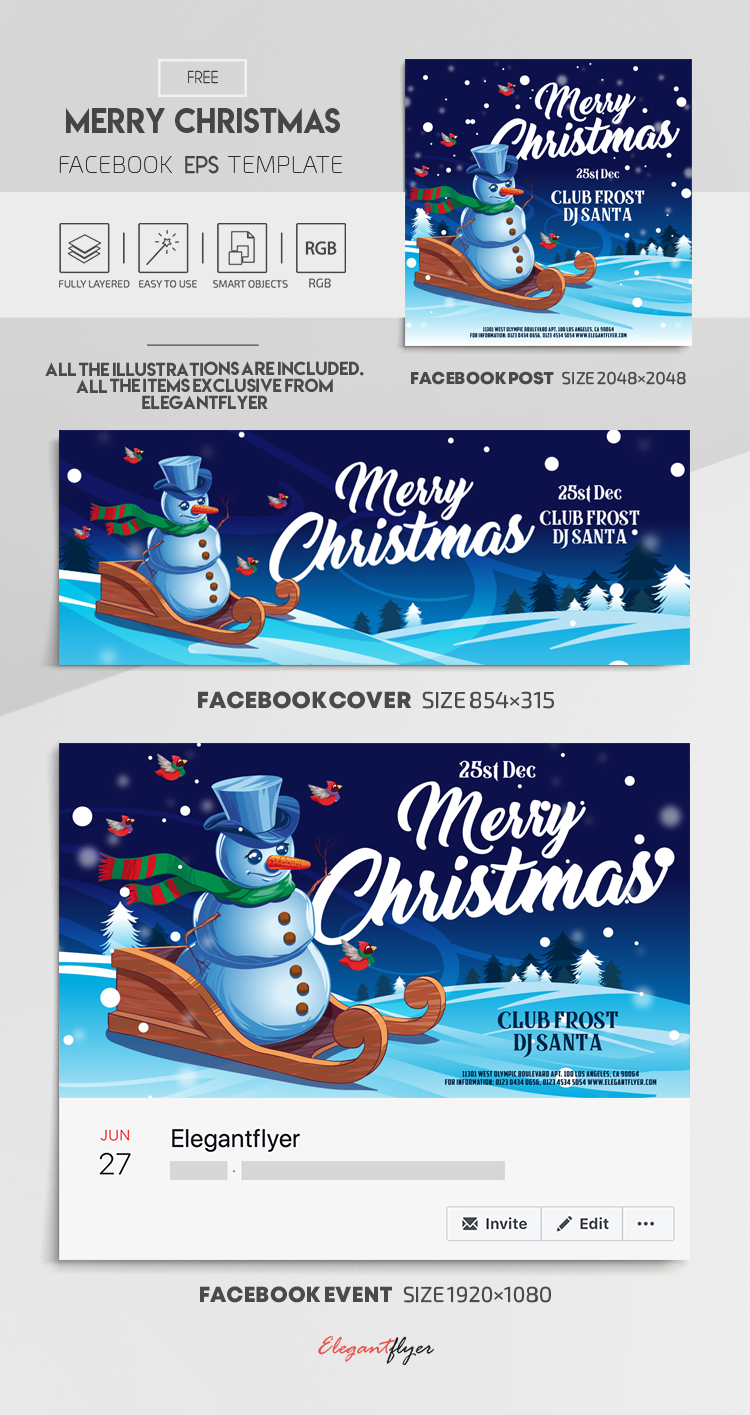 Merry Christmas – Free Vector Facebook Cover Template in EPS + Post + Event cover