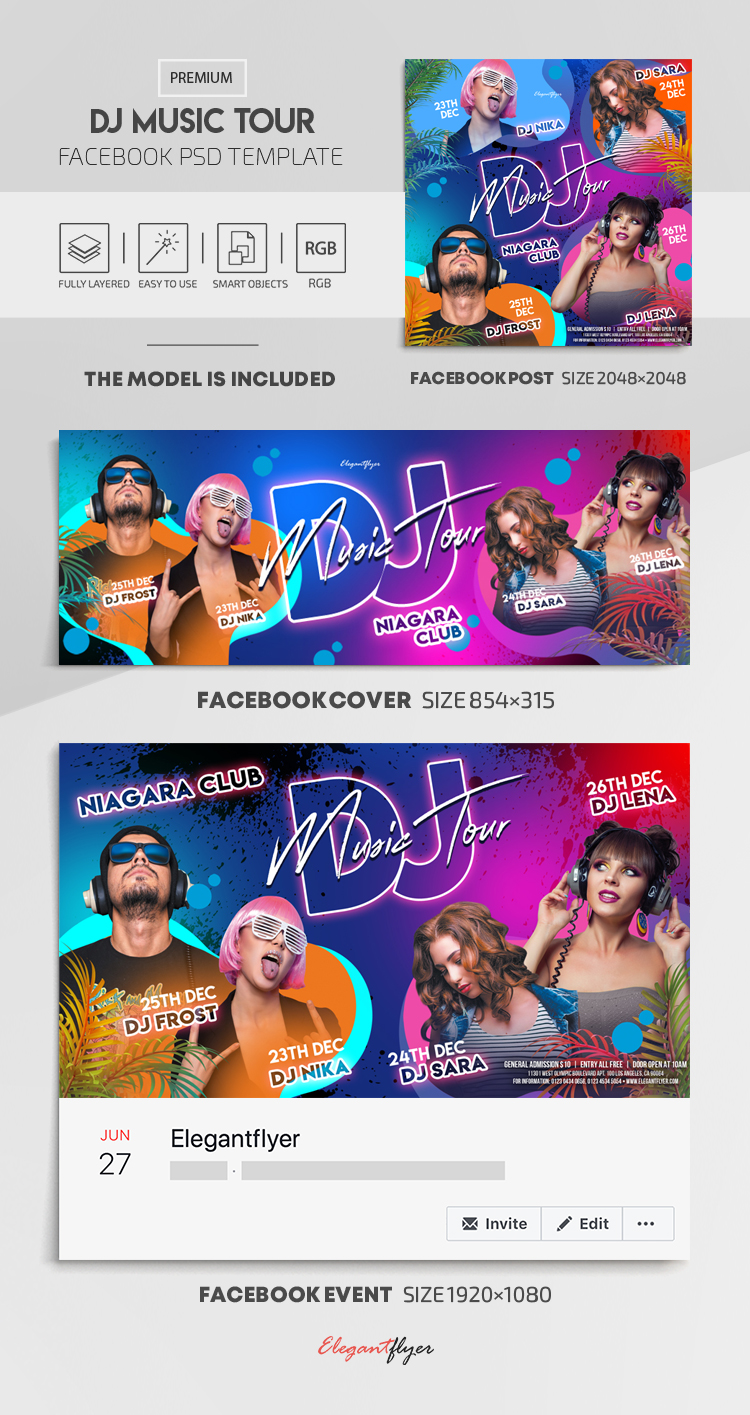 DJ Music Tour – Facebook Cover Template in PSD + Post + Event cover
