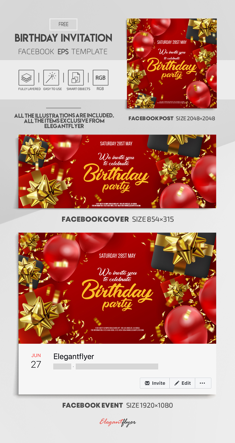 Birthday Invitation – Free Vector Facebook Cover Template in EPS + Post + Event cover