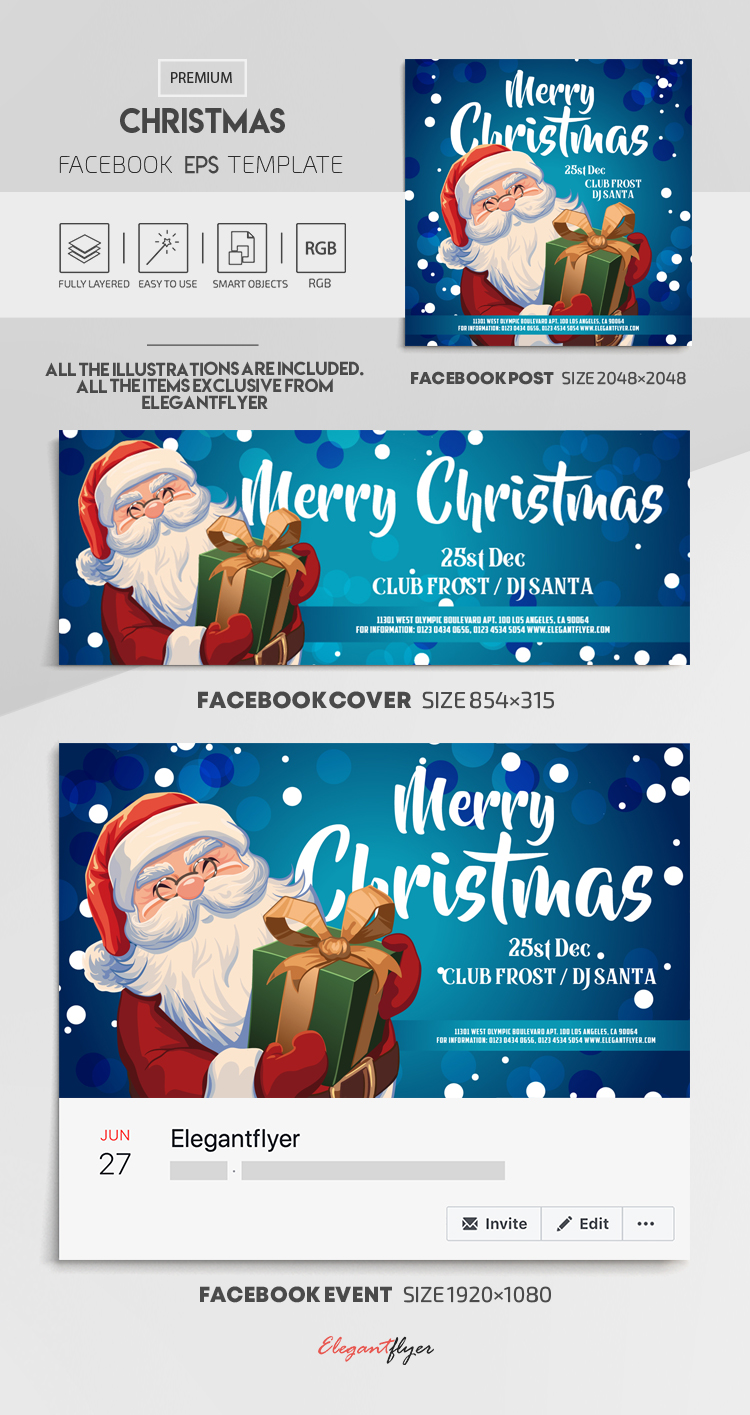 Christmas – Vector Facebook Cover Template in EPS + Post + Event cover