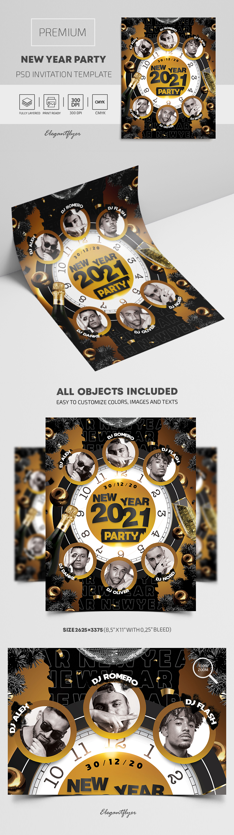 Premium New Year Party Invitation PSD Template