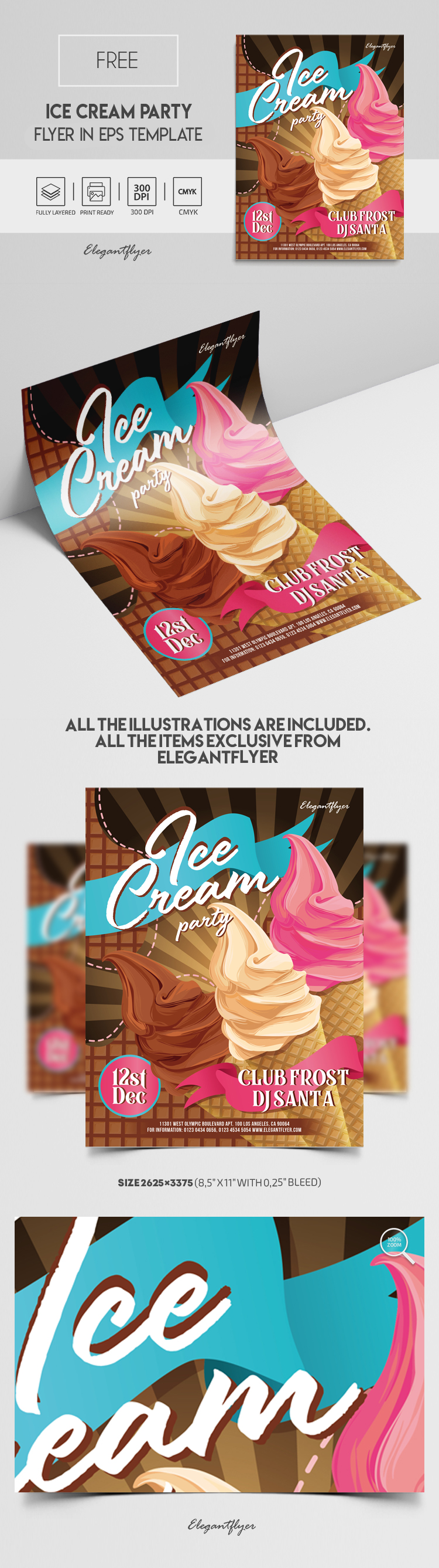Ice Cream Party – Free Vector Flyer EPS Template