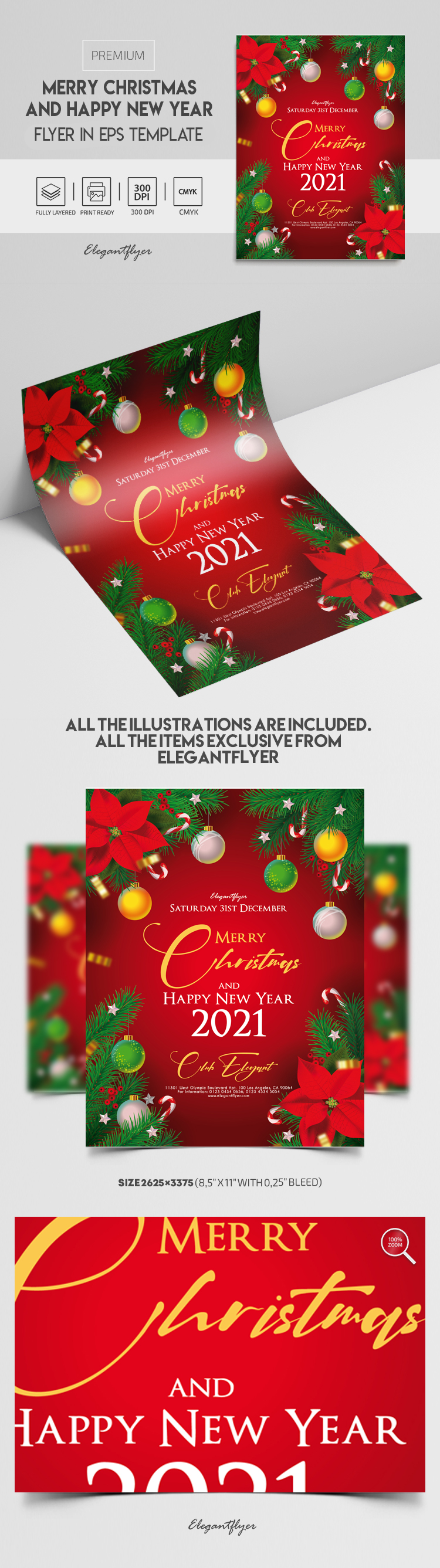 Merry Christmas and Happy New Year – Premium Vector Flyer EPS Template
