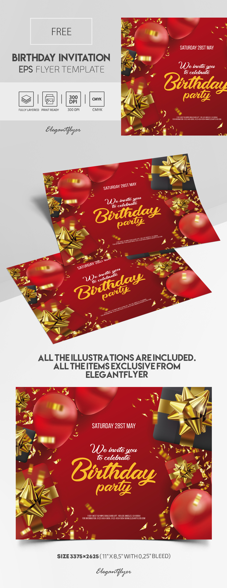 Free Birthday Invitation Vector EPS Template