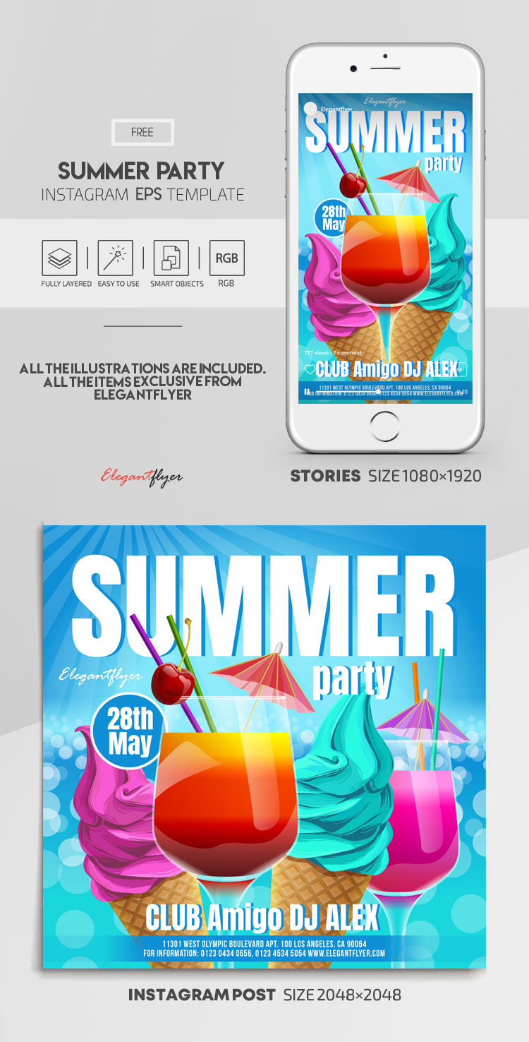Summer Party – Free Vector Instagram Stories Template in EPS + Post Templates