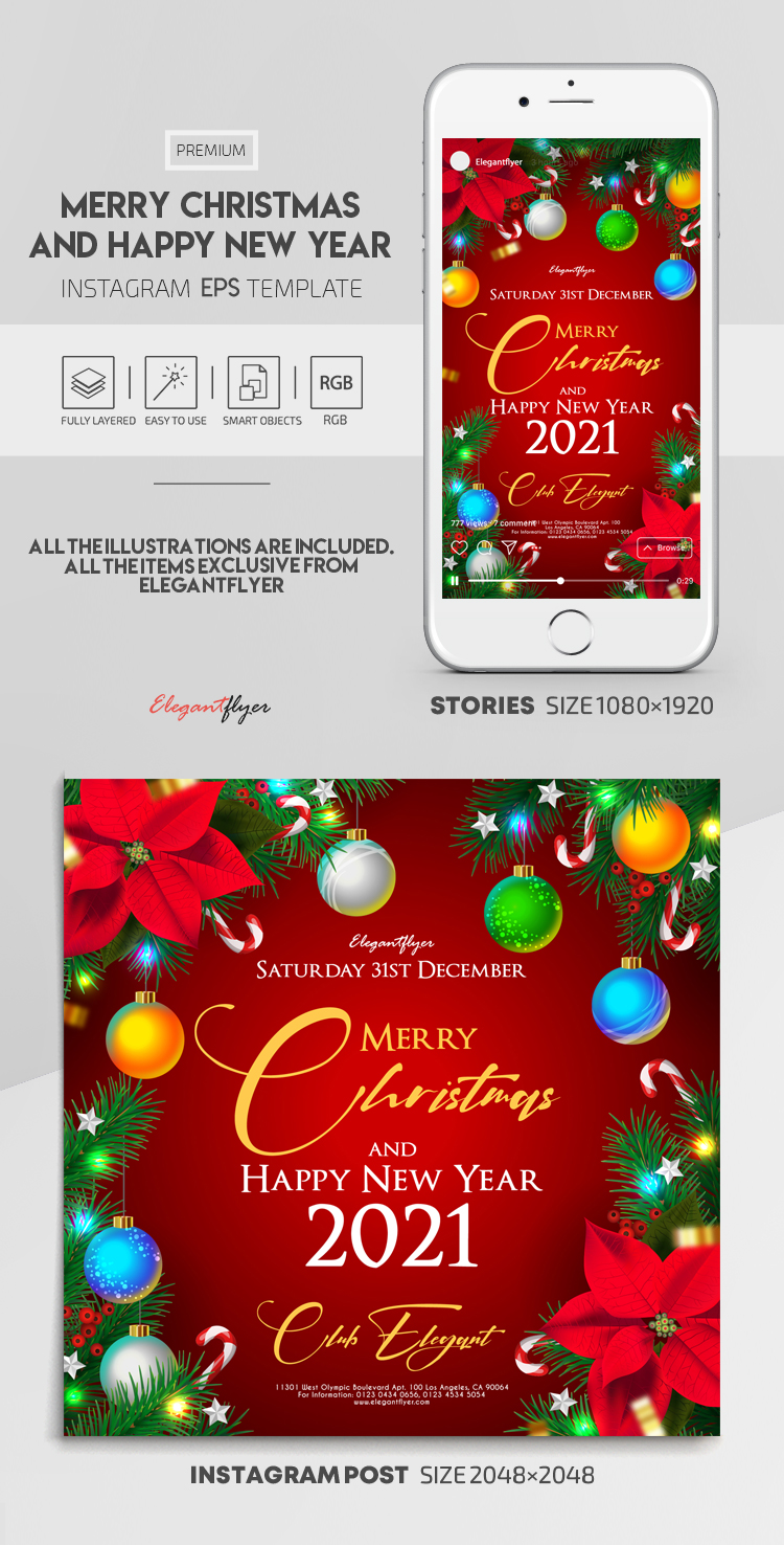 Merry Christmas and Happy New Year – Vector Instagram Stories Template in EPS + Post Templates