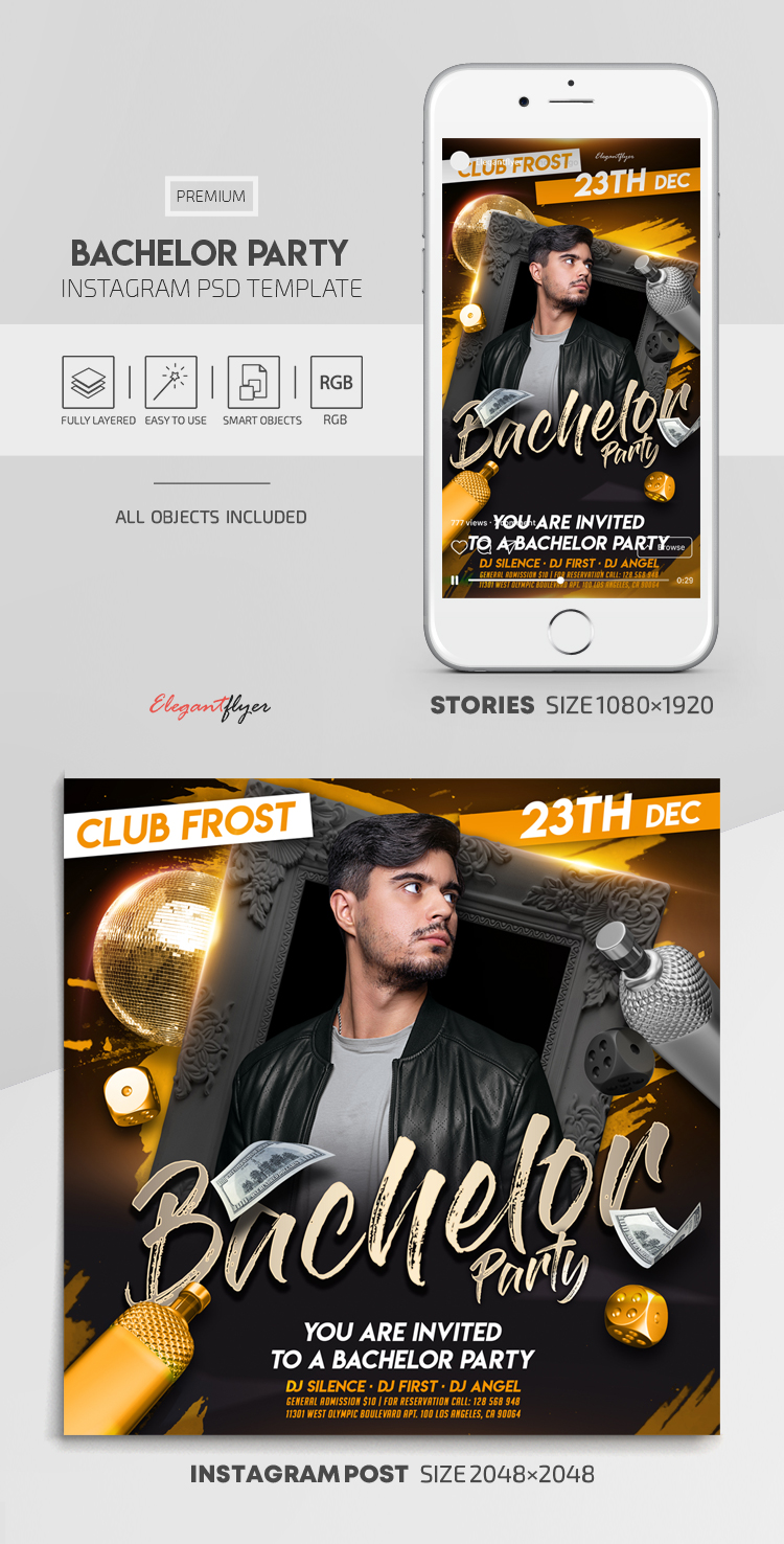 Bachelor Party – Instagram Stories Template in PSD + Post Templates