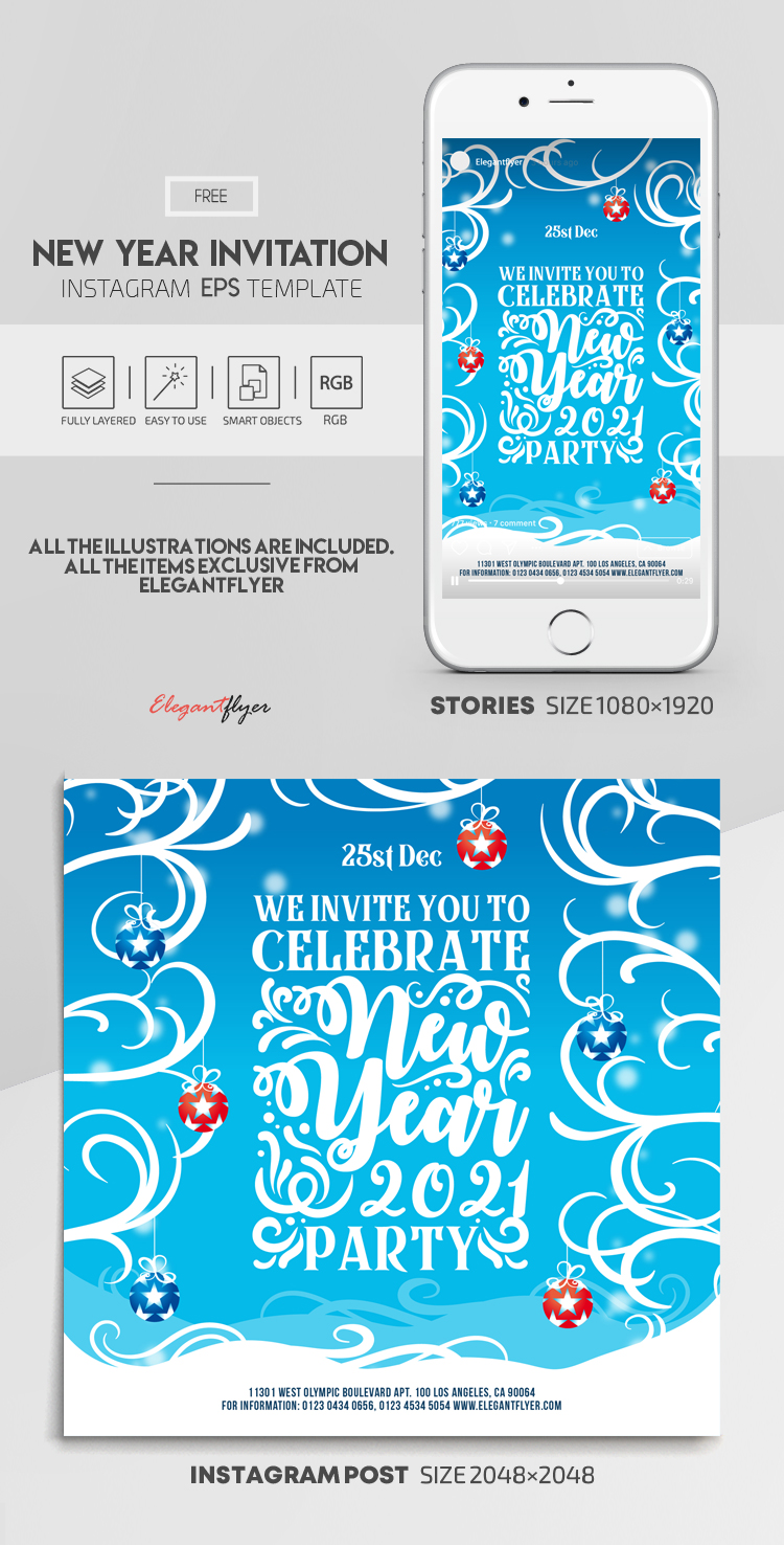 New Year Invitation – Free Vector Instagram Stories Template in EPS + Post Templates