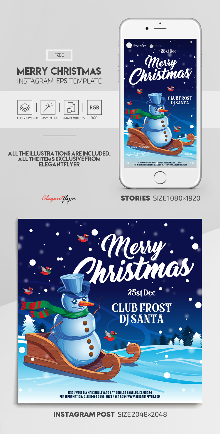 Merry Christmas – Free Vector Instagram Stories Template in EPS + Post Templates