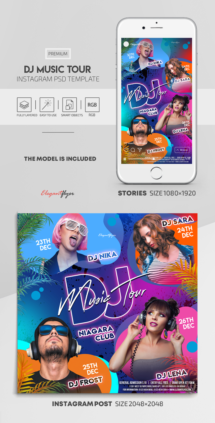 DJ Music Tour – Instagram Stories Template in PSD + Post Templates
