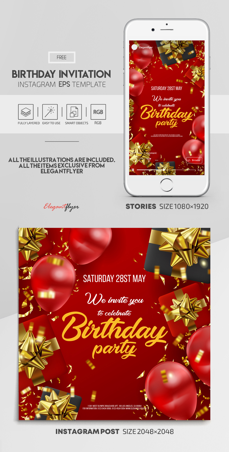 Birthday Invitation – Free Vector Instagram Stories Template in EPS + Post Templates