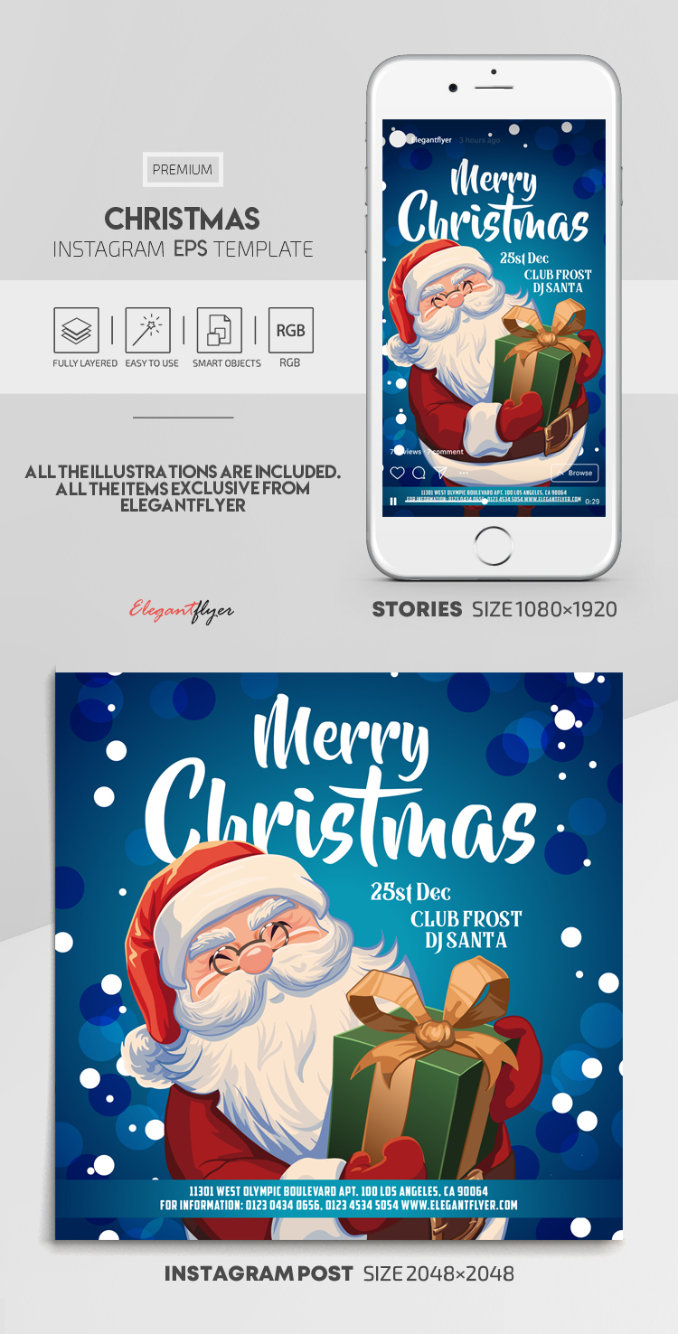 Christmas – Vector Instagram Stories Template in EPS + Post Templates
