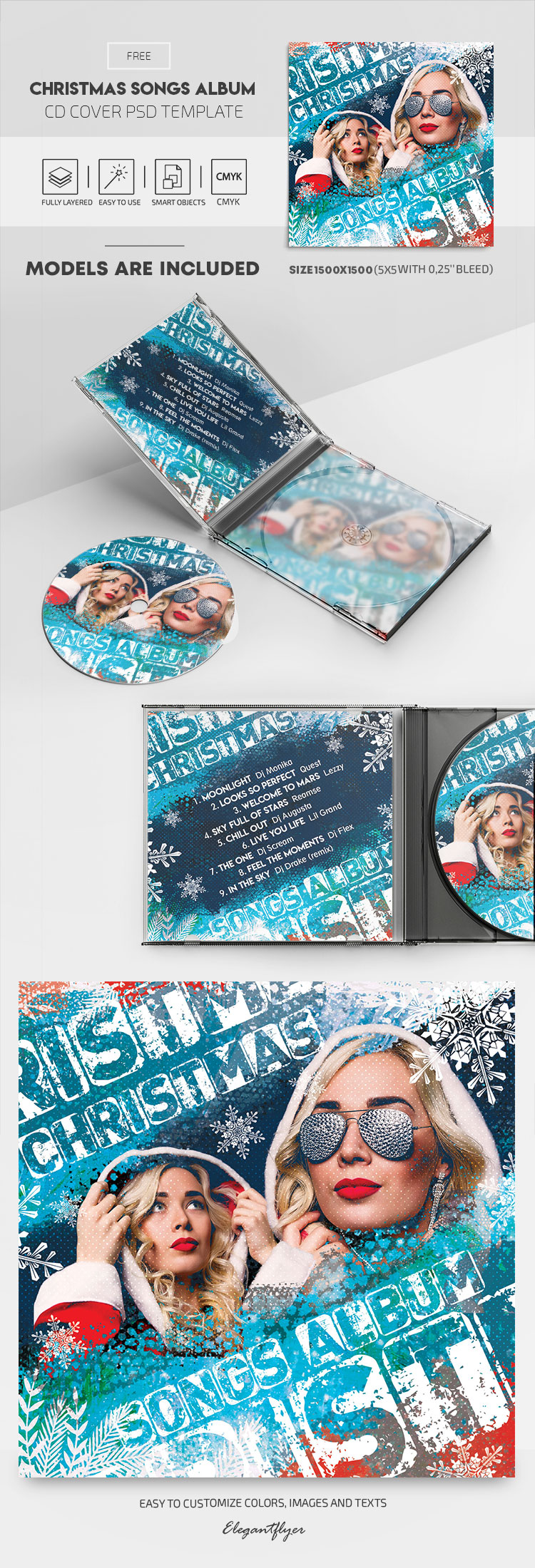 Christmas Songs – Free CD Cover PSD Template