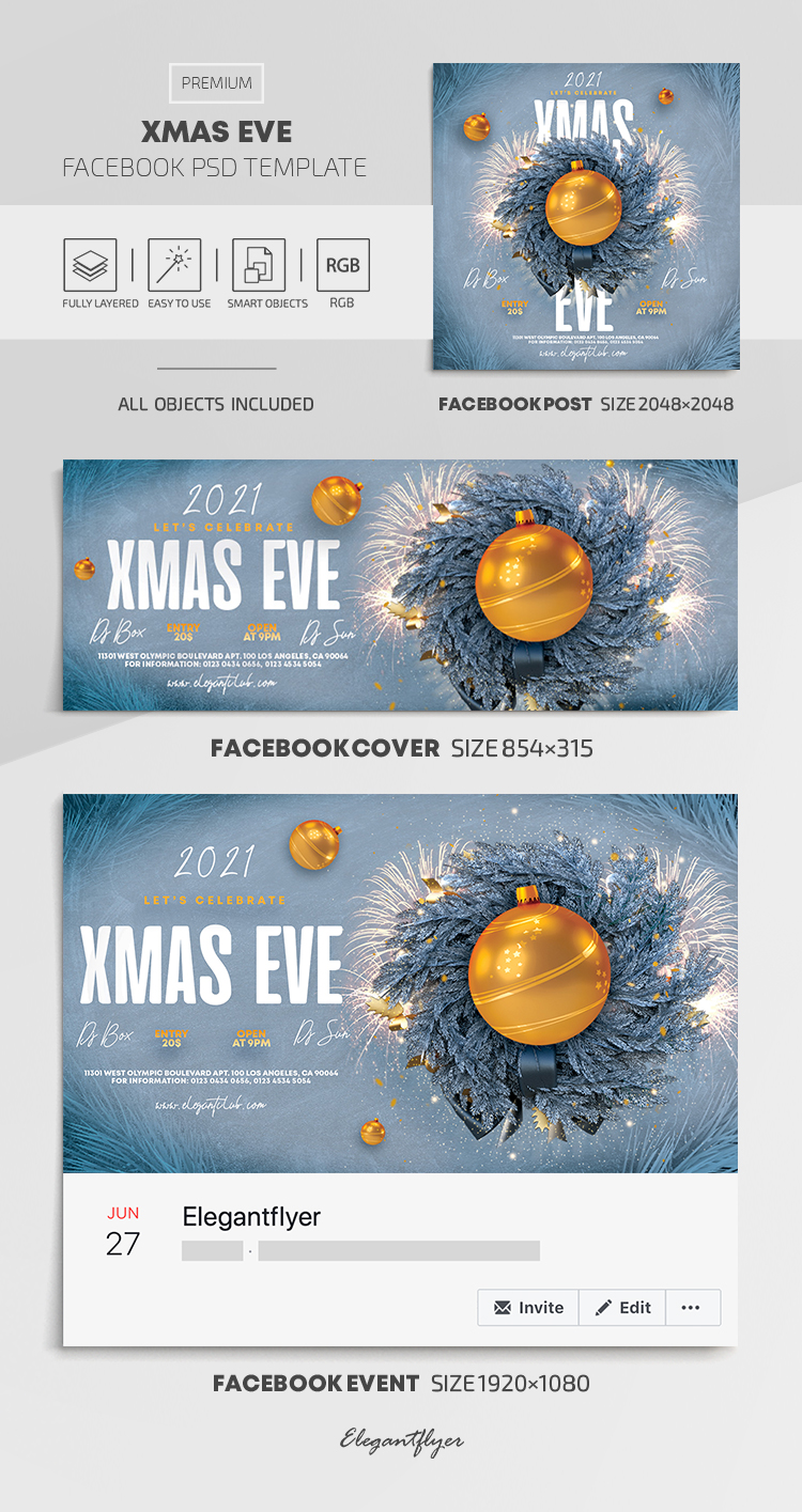 Xmas Eve – Facebook Cover Template in PSD + Post + Event cover