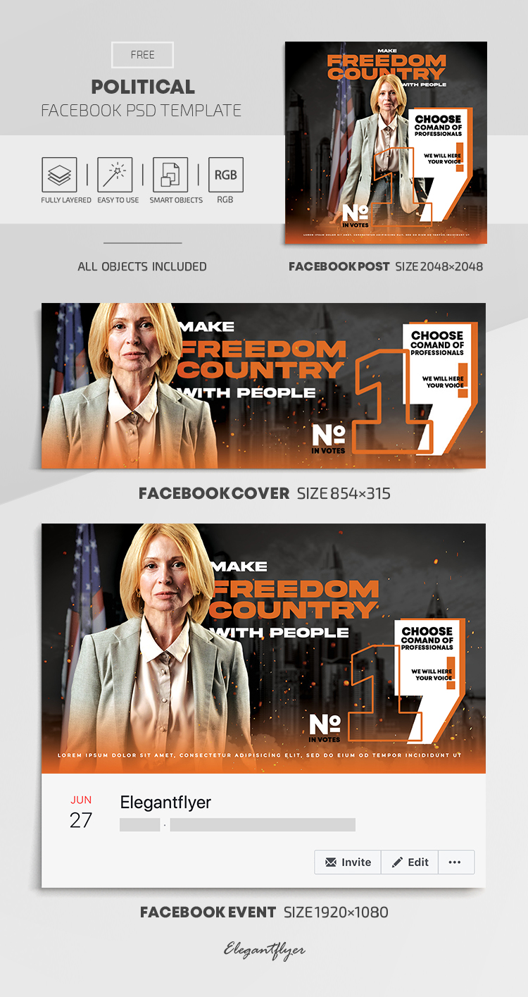Political – Free Facebook Cover Template in PSD + Post + Event cover