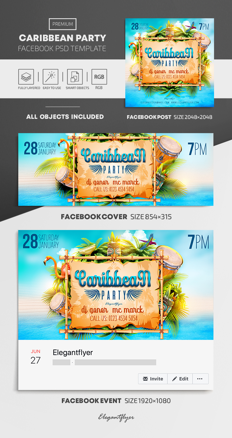 Caribbean Party – Facebook Cover Template in PSD + Post + Event cover