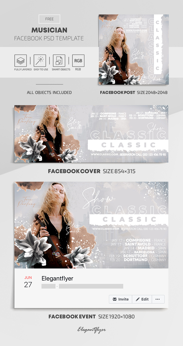 Musician – Free Facebook Cover Template in PSD + Post + Event cover